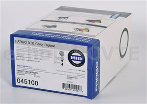 Fargo 045100 YMCKO Cartridge w/Cleaning Roller: Full-color ribbon with resin black and clear overlay-250img