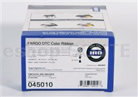 Fargo 045010 EZ YMCKOK Cartridge w/Cleaning Roller: Full-color ribbon,2 resin K panels,clear overlay - 200img
